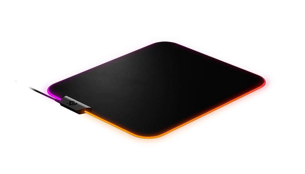 Steelseries QCK M prism cloth RGB Gaming Mouse Pad, (63825) (Black), RGB dynamic illumination, Never-slip base