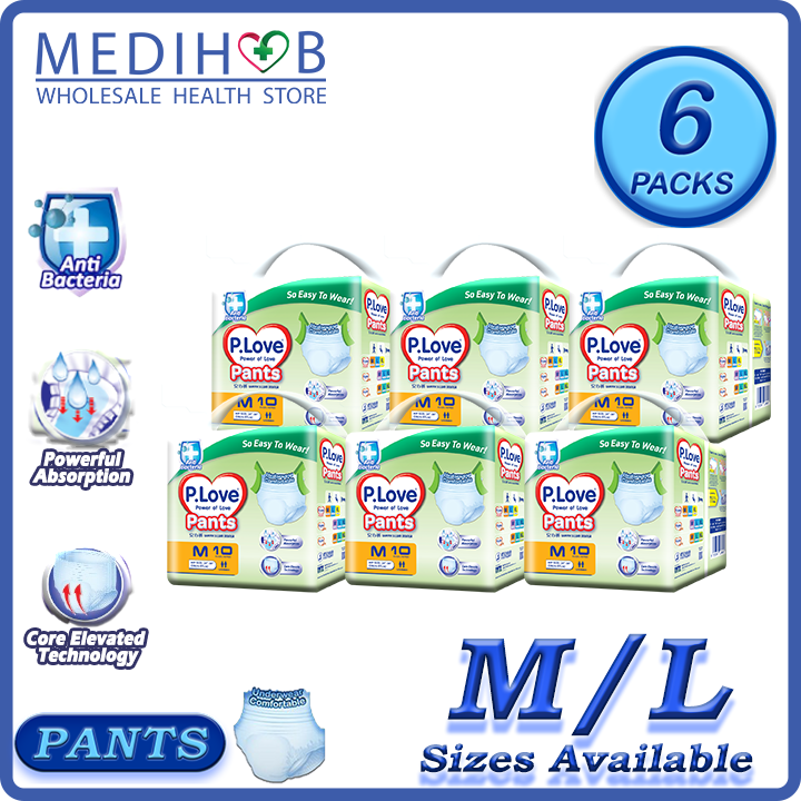 PLove Pants Adult Diapers Lampin Pampers (P.Love 6 Packs - M Sizes)