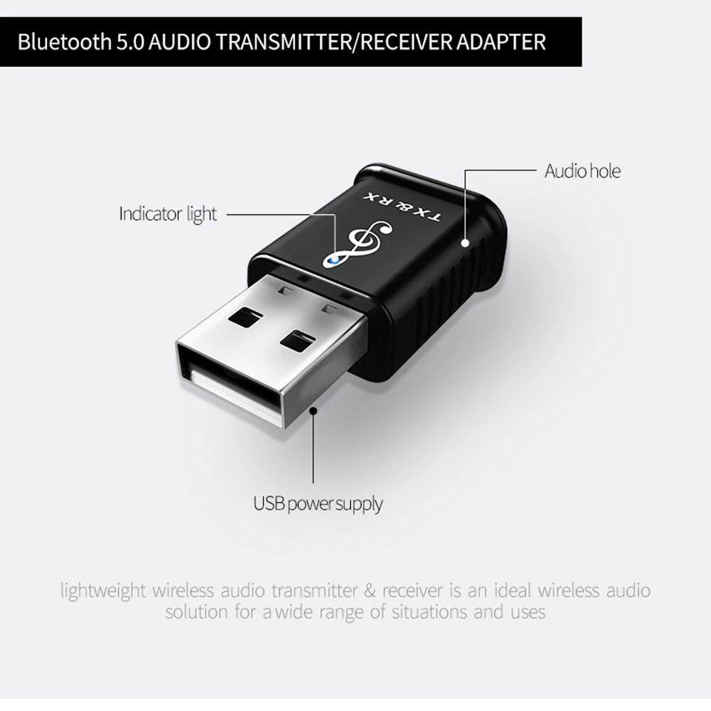 Adapters & Converters - 2 in 1 USB BLUETOOTH 5.0 Transmitter Receiver MINI 3.5mm Jack AUX Stereo for Computer TV Speaker Car - Network Components