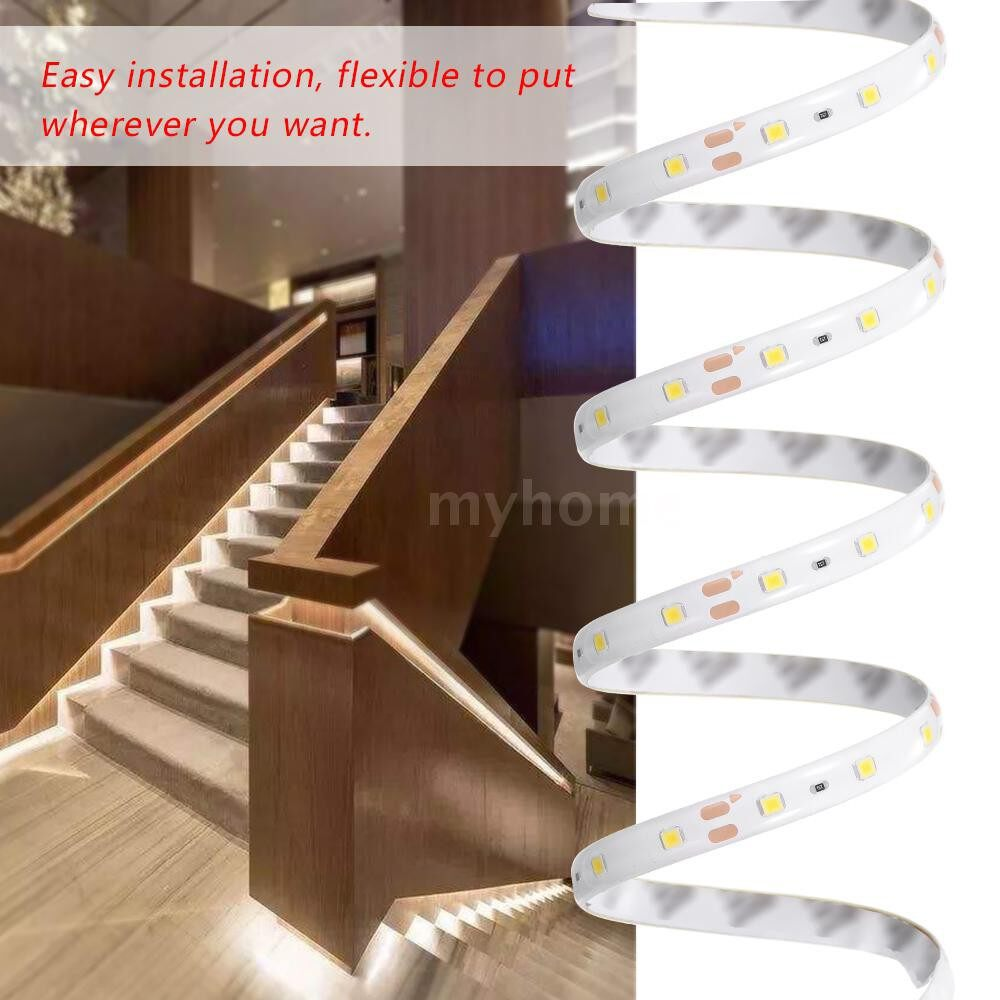 Lighting - DC 12V PIR Motion Sensor Strips Light Under Bed Light 1M-5M Induction LED Night Lamp for Wardrobe - WARM WHITE & EU & 5M / WARM WHITE & EU & 4M / WARM WHITE & EU & 3M / WARM WHITE & EU & 2M / WARM WHITE & EU & 1M / WARM WHITE & US & 5M / W