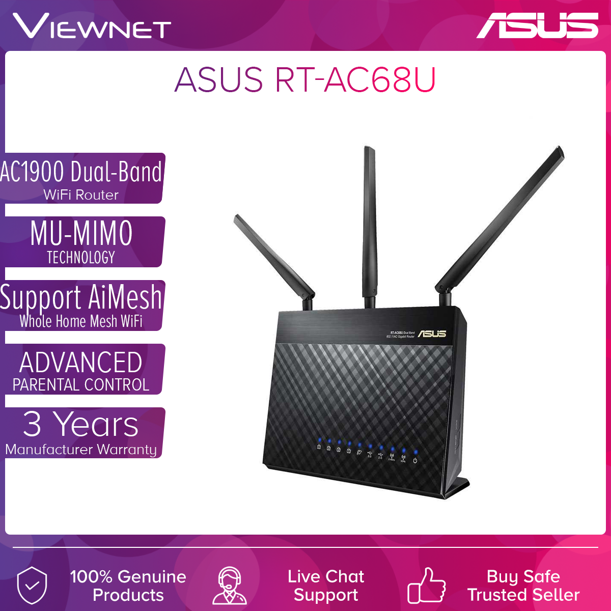 ASUS RT-AC68U AC1900 Gigabit Dual Band WiFi Router Wireless AC 2.4GHz + 5GHz AiMesh (Mesh WiFi) UniFi / MAXIS Fiber / Time Fibre