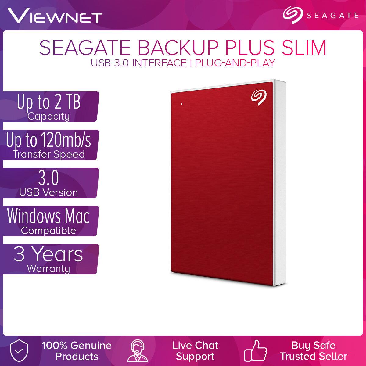 [NEW 2019] Seagate 1TB/2TB Backup Plus Slim Aluminium Texture Portable External Hard Disk Drive