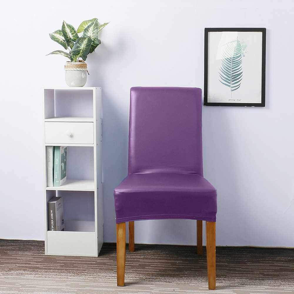 Best Selling Stretch Solid Pu Leather Waterproof Dining Chair Cover Slipcover Removable Washable Short Dining Chair Protector Seat Solid Slipcovers for Hotel Dining 4pcs Purple (Purple)