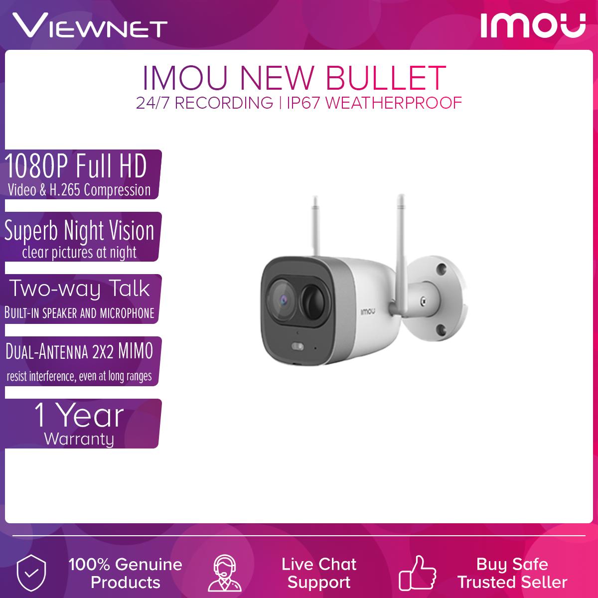 DAHUA IMOU New Bullet Weatherproof IP67 PIR Detection 1080P Full HD Wireless WiFi IP Camera with (CCTV) With Spotlight And Siren Alarm