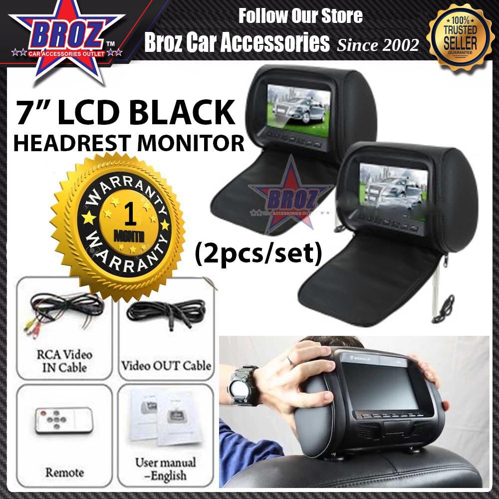 2 x 7 inch LCD Color Headrest Monitor With Universal Adjustable Mounting Pillow with zip cover (Black/Grey/Beige)