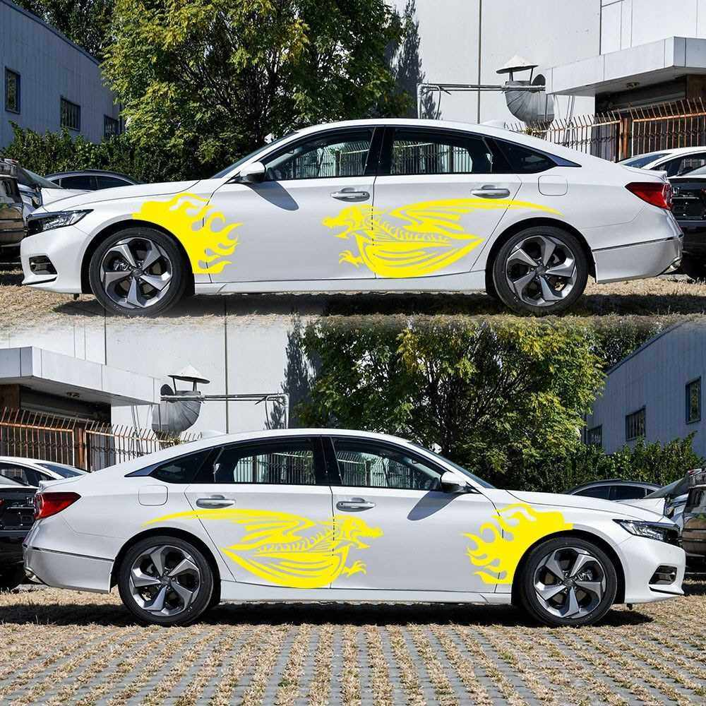 Best Selling 1Pair Car Sticker Dragon Decal Side Door Stripes Sticker Racing Decals (Yellow)