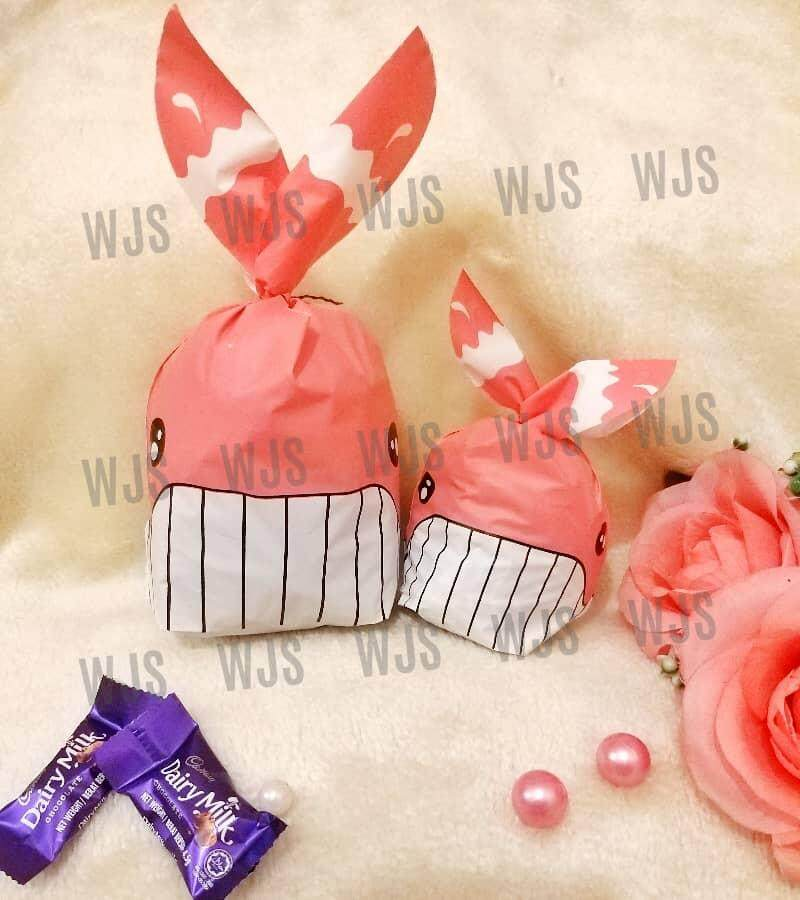 (MULTIPLE SIZES) WJS 50pcs 50 pcs Cute Whale with Teeth and Tail Pink White Goodies Bag