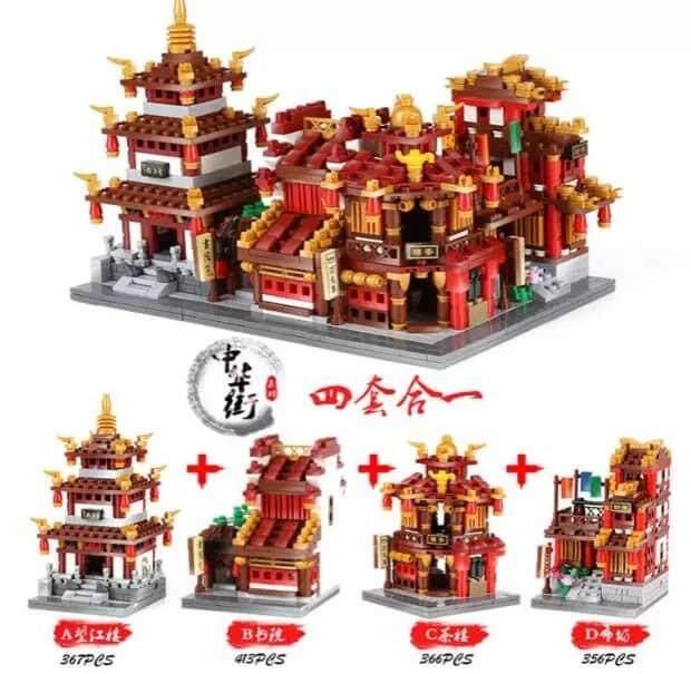 [Set of 4] Chinatown Series Building Block 望江楼 布坊 书院 茶楼