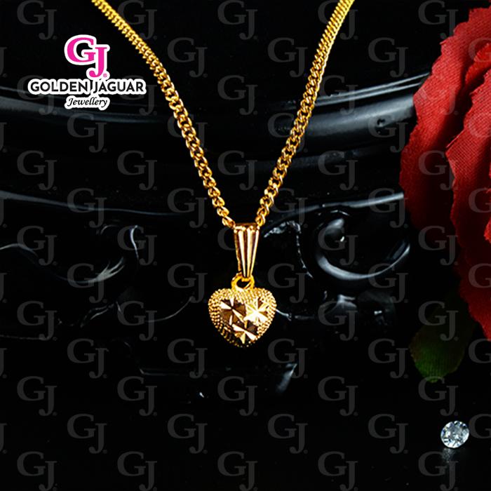 NEW - GJ Jewellery Korean Gold Woman Necklace Chain - Rantai Leher Papan Gajah Love Kikir
