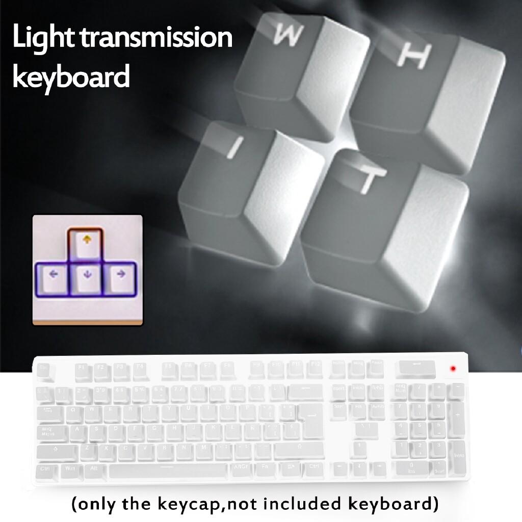 Keyboards - 106 PIECE(s) Black White Russian Languag Keycaps English Keys Keyboard Caps - BLACK / WHITE