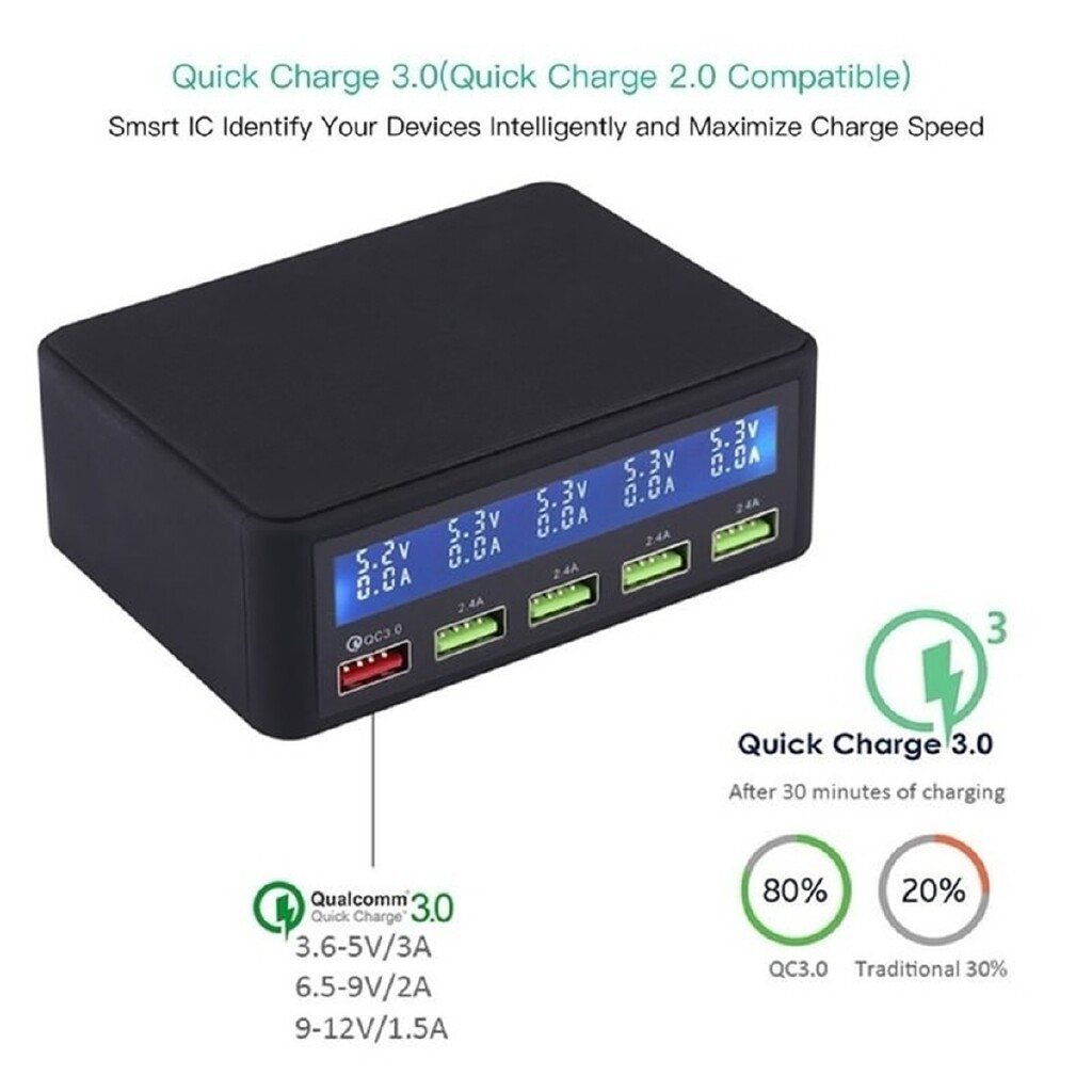 Chargers - 5-Port Smart USB Adapter MP3/4 Phone Charging QC3.0 Fast Charger LCD Display - WHITE-EU / BLACK-AU / WHITE-US / BLACK-UK / BLACK-US / WHITE-UK / WHITE-AU / BLACK-EU