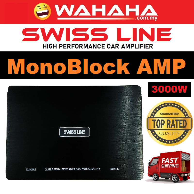 Swiss Line MonoBlock High Power Amp M350.1 Car Amplifier 3000Watts 2CH Channel Suitable for Car Woofer
