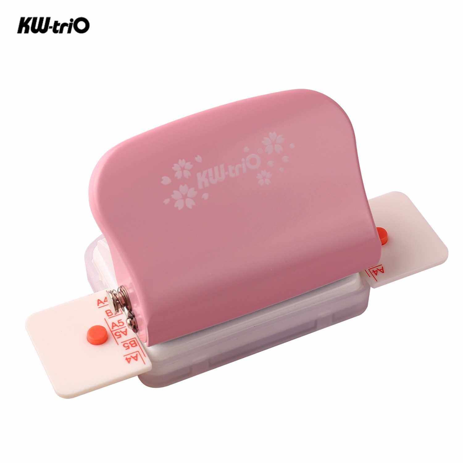 KW-trio 6-Hole Paper Punch Handheld Metal Hole Puncher 5 Sheet Capacity 6mm for A4 A5 B5 Notebook Scrapbook Diary Planner (Pink)