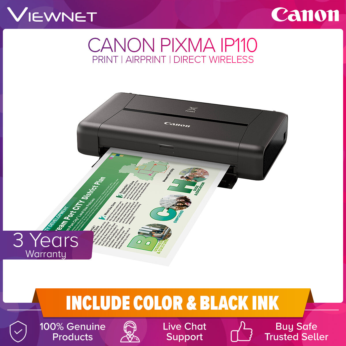 Canon PIXMA iP110 Portable Wireless Printer with Easy Direct Connection, Print, Wireless, Wireless PictBridge, Mopria, AirPrint, Direct Wireless
