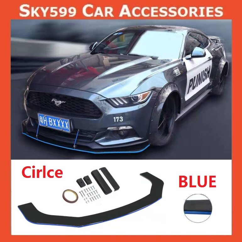 Car Universal Circle Front Bumper Diffuser Lip Wrap Angle [BLUE COLOR]