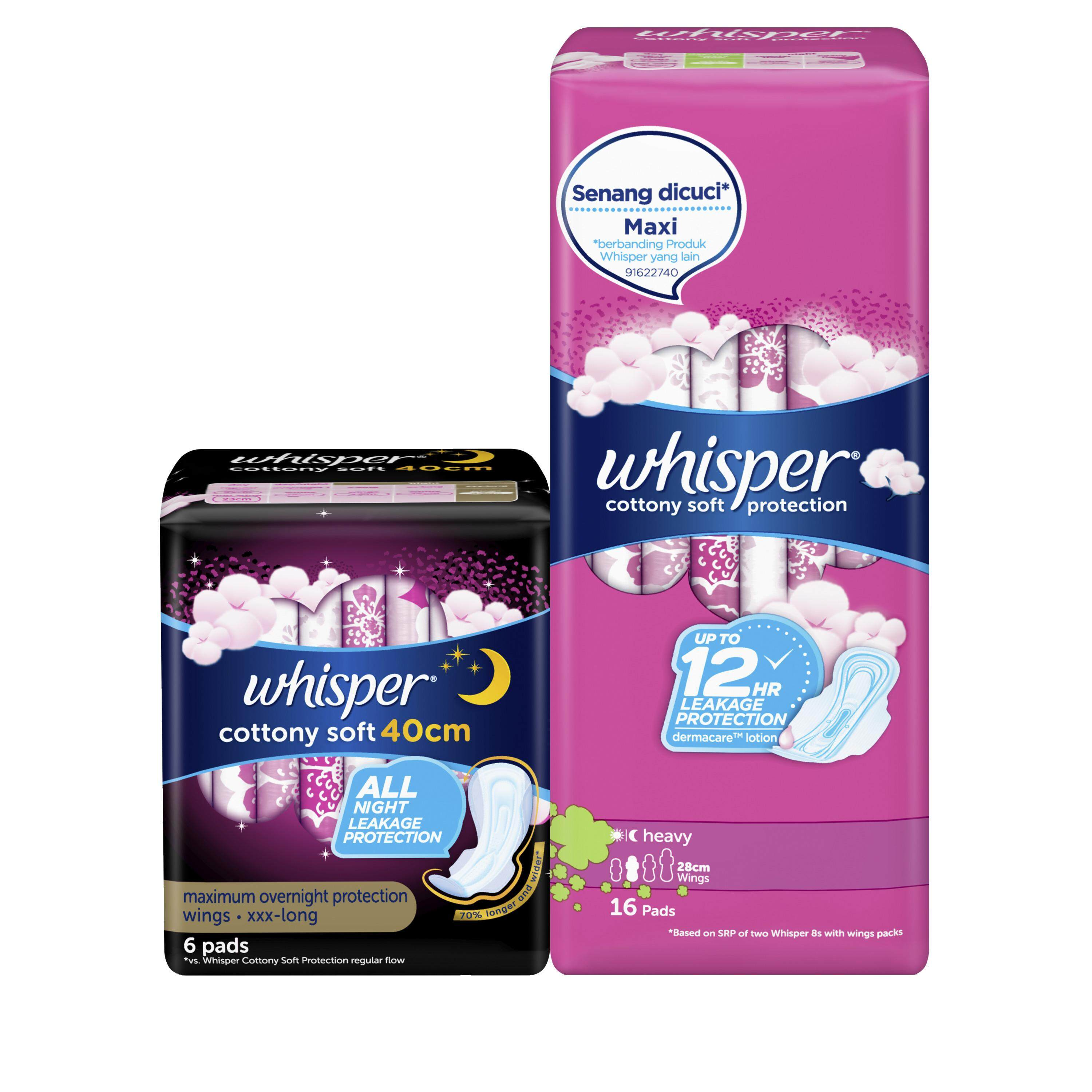 Whisper Cottony Soft Protection Heavy (28cm) With Wings 16s + Cottony Soft Nights 6s (40cm)