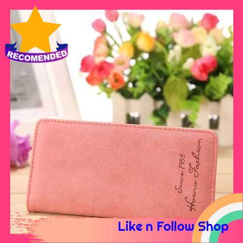 Women Bifold Wallet PU Leather Press Stud Letters Print Credit Card Holder Vintage Elegant Organizer Purse (Watermelon Red)