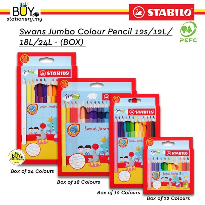 Stabilo Swans Jumbo Colour Pencil 12s/12L/18L/24L - (BOX)