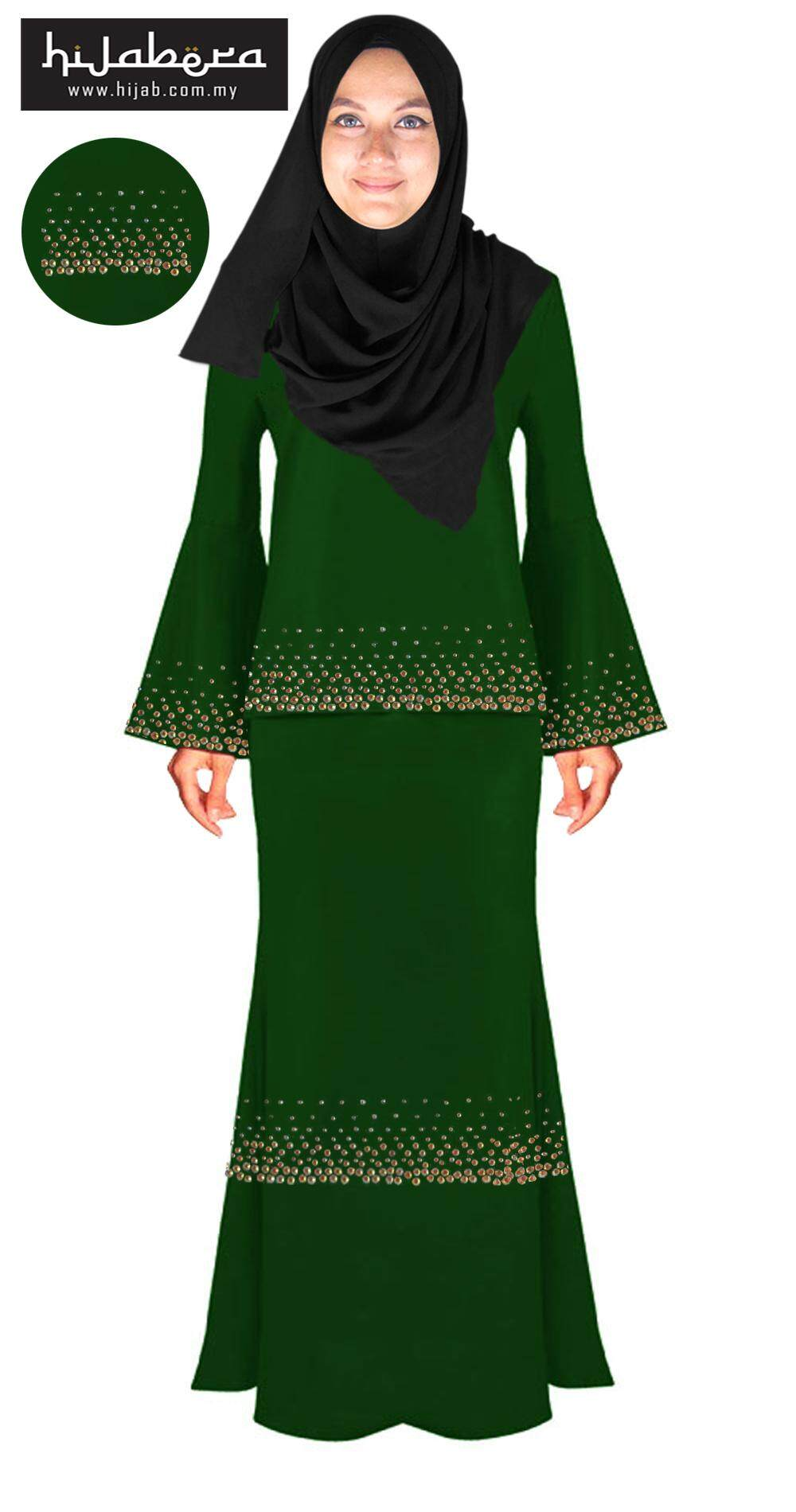 Baju Kurung Moden with Double Line Crystal Design -Chandni-Green