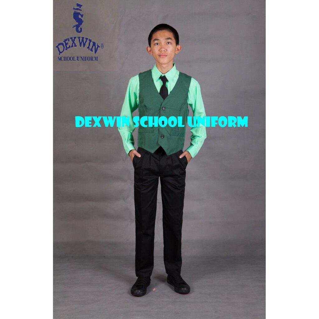 vest hijau kain licin pakaian pengawas sekolah rendah sekolah menengah