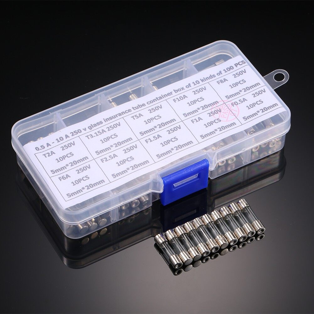 Lighting - 100 PIECE(s) 5x20mm Fast-blow Slow-blow Glass Tube Fuses Assorted Kit Amp 0.5A 1A - Home & Living