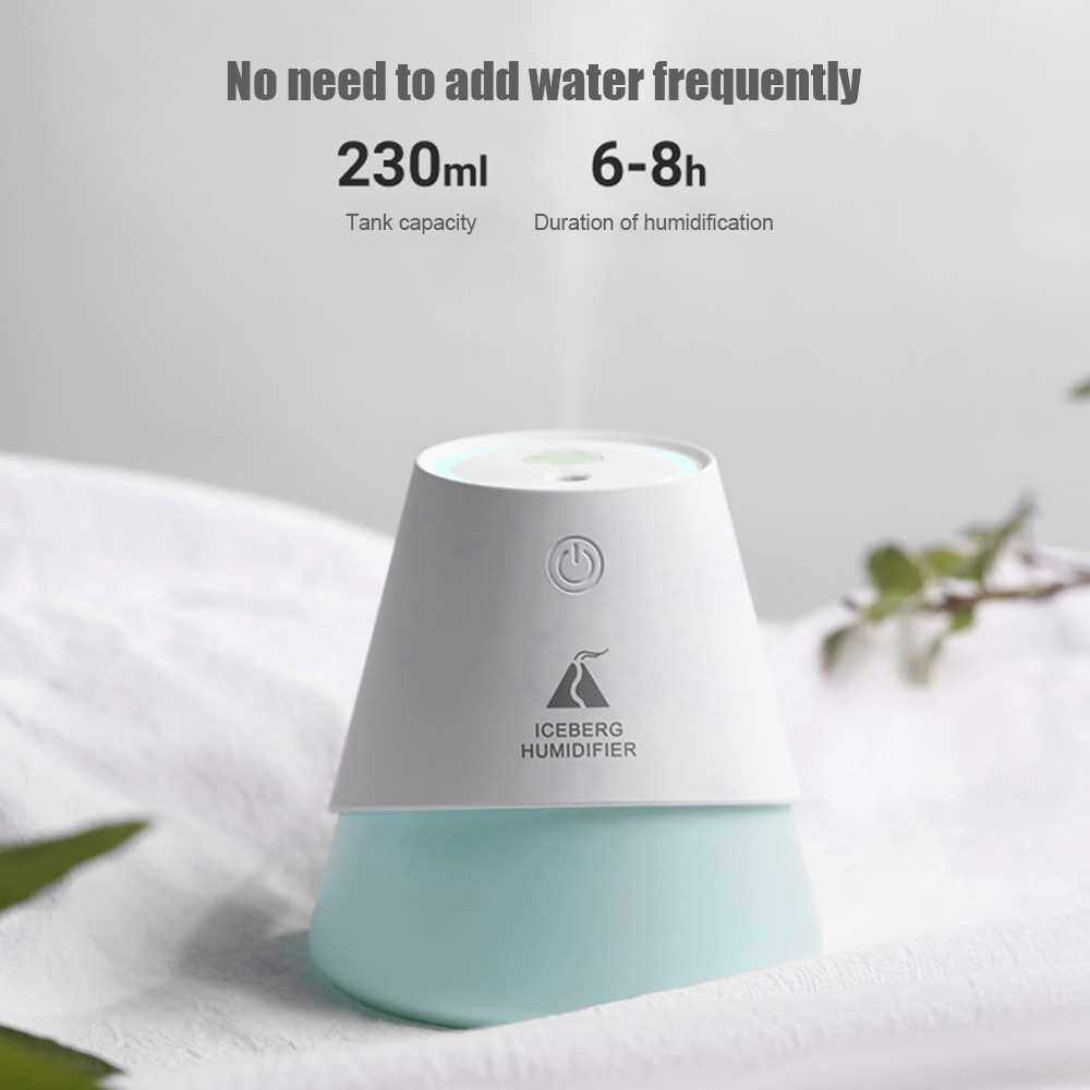 People's Choice USB Three in One Iceberg Cold Fog Humidifier with Small Fan Night Light Car Desk Mini Humidifier (White)