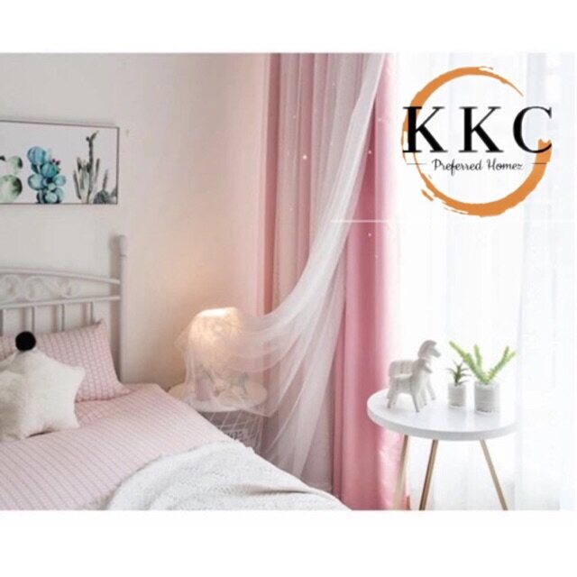 KKC Hollow Star Blackout Curtain (80%) mesh with Lace sheer With Hook or Eyelet Type ~ Ready Stock & Ship from Malaysia