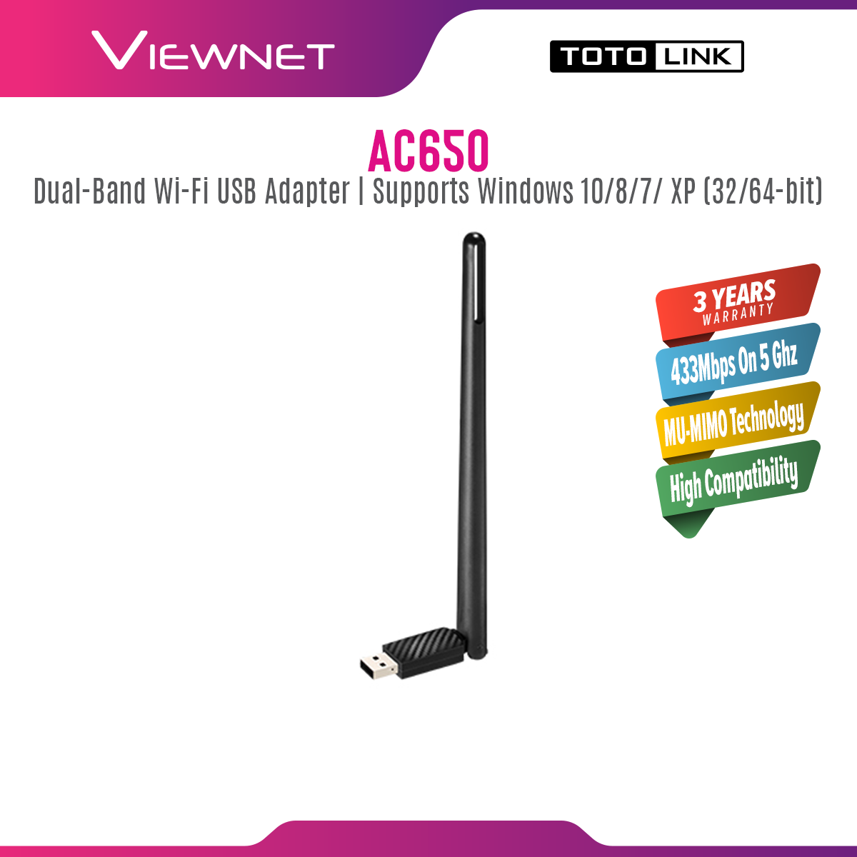 TOTOLINK A650UA Dual Band 5Ghz MU-MIMO High Gain AC650 5dBi Wireless USB WiFi Adapter
