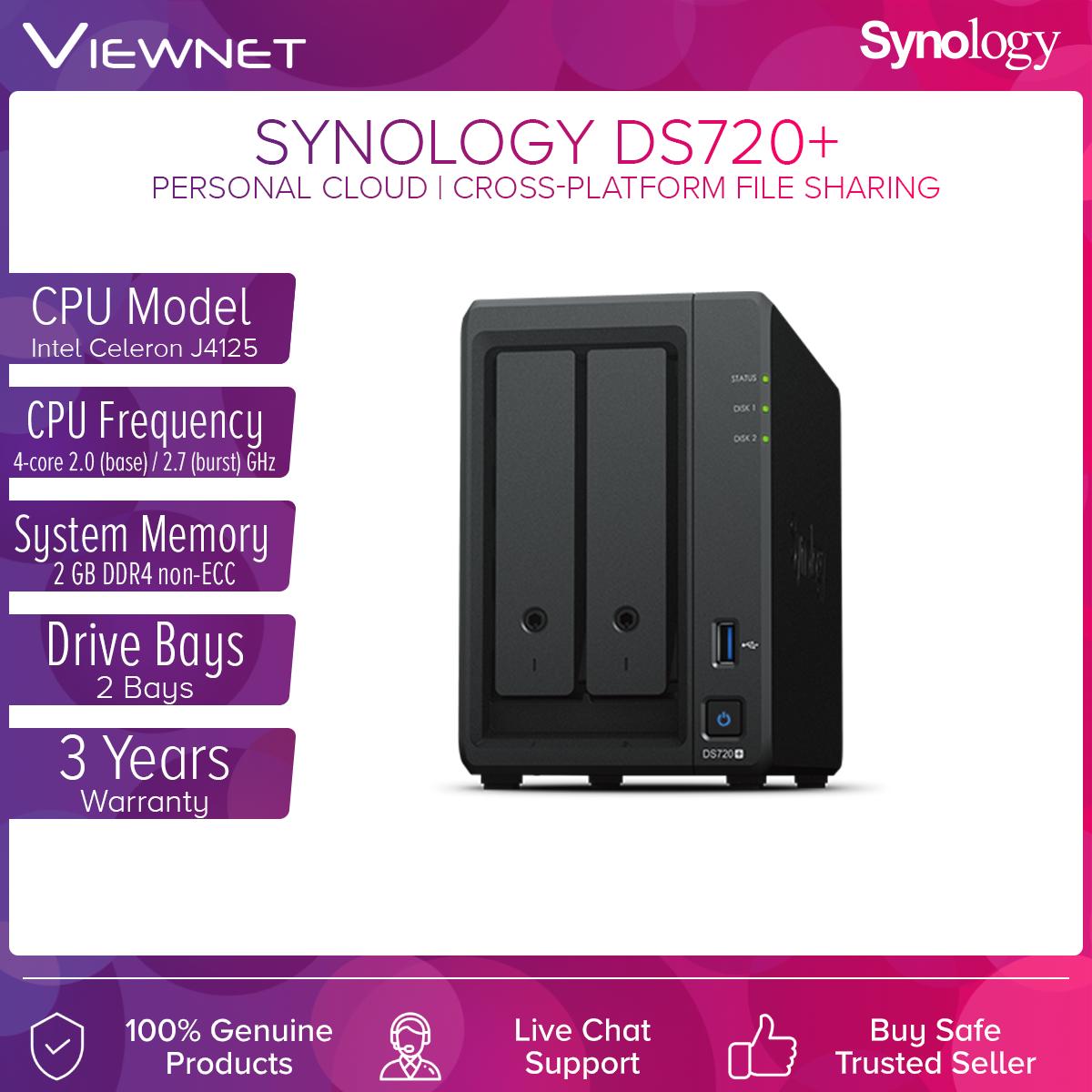 Synology DS720+ NAS DiskStation 2-Bays NAS Quad-Core Processor Data Backup Storage External Hard Drive