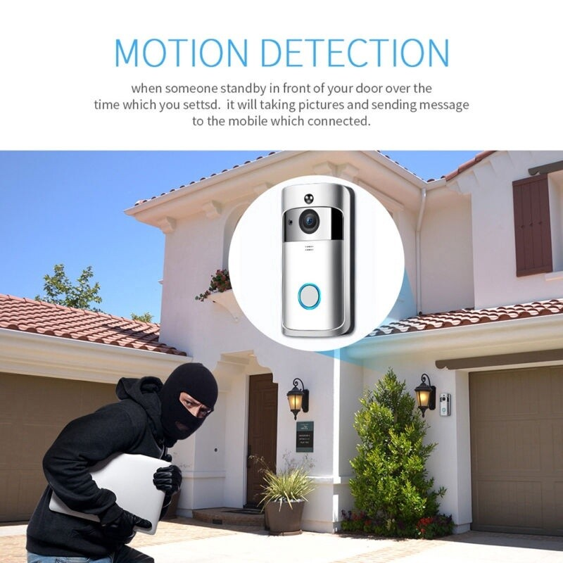Smart Doorbell WIRELESS WiFi Video IR Visual Camera Record Security System Bell - BLACK / SILVER