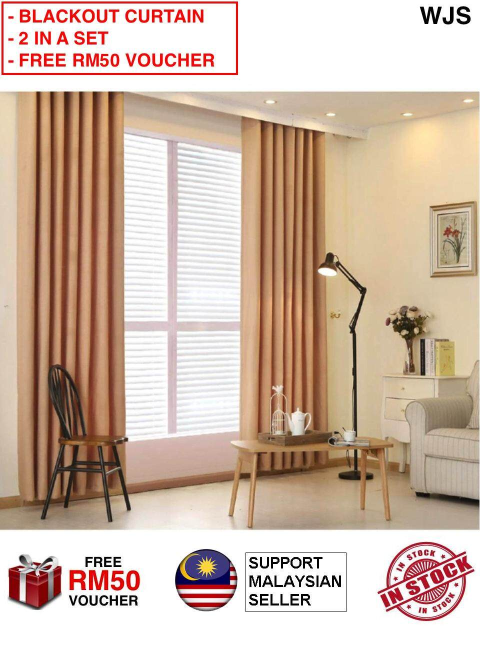 (2 PIECES IN A SET) WJS Blackout Plain Thermal Solid Window Curtain Modern Simple Elegant Design Simplicity With Eyelet Rod Ring BLUE BROWN COFFE PINK GREY GREEN 100cm x 210cm [FREE RM 50 VOUCHER]
