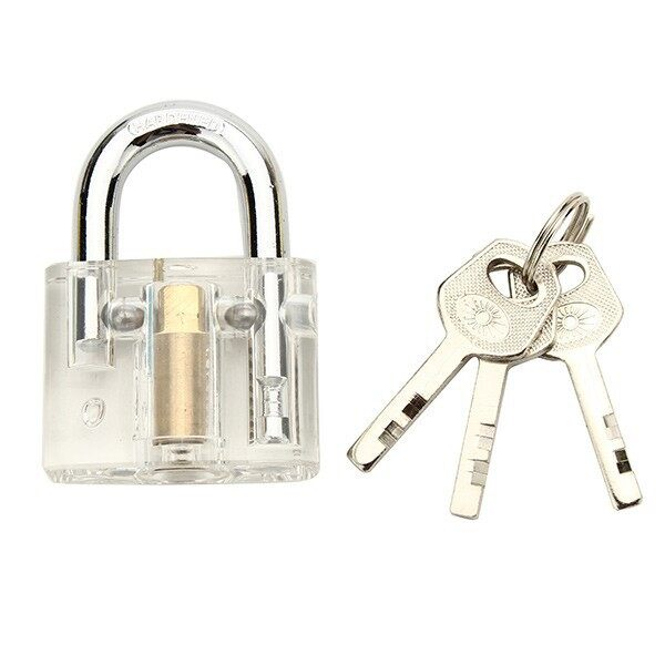 Cool Gadgets - Transparent Padlock with Disc Detainer Locksmith Tools Locksmith TDB - Mobile & Accessories