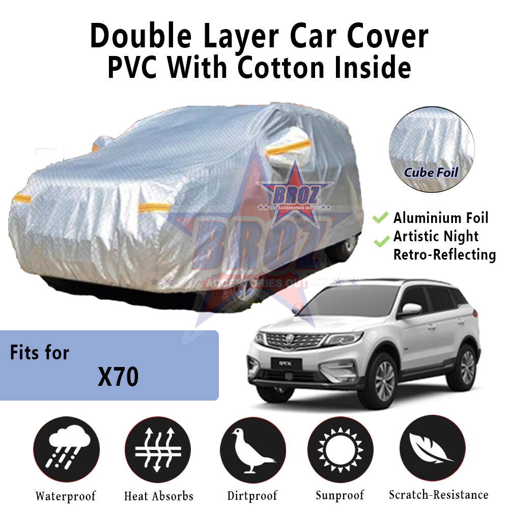 X70 High Quality Durable Anti Scratch Double Layer All Weather PVC Cotton Aluminium Foil Car Body Cover - MPV Size
