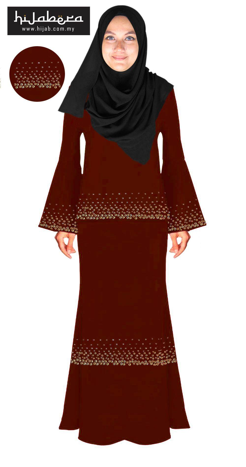 Baju Kurung Moden with Double Line Crystal Design -Chandni-Brown