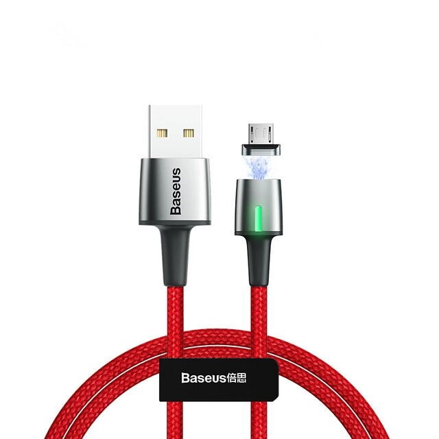 Mobile Cable & Chargers - Baseus Zinc Alloy Braided Magnetic Micro Type-C USB Data Cable - PURPLE-MICRO / BLACK-TYPE-C / PURPLE-TYPE-C / RED-TYPE-C / RED-MICRO / BLACK-MICRO