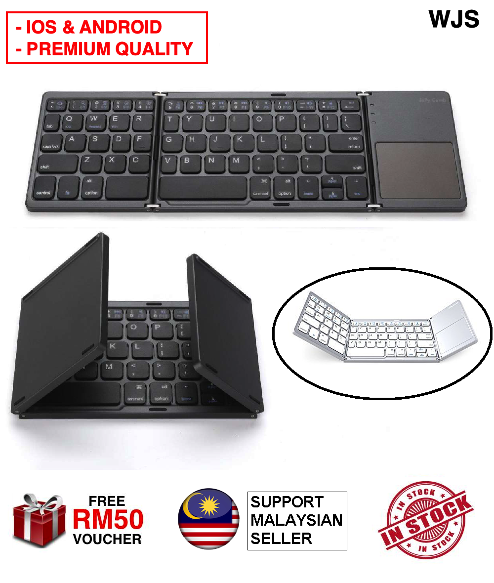 (IOS & ANDROID) WJS Premium Universal Wireless Bluetooth 3.0 Foldable Keyboard with Touchpad Wireless Keyboard Portable Keyboard Ultra Slim Mini Lightweight for iPhone iPad Samsung Tablet Keyboard BLACK WHITE [FREE RM 50 VOUCHER]