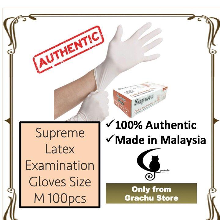 Latex Examination Gloves Powder Free, Size M - 100pcs per box - Made in Malaysia (READY STOCK)