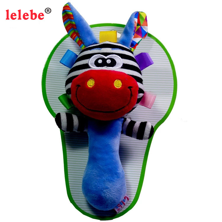 Baby Animal Stuffed Toys Plush Rattles Doll Hand Bells BB Sound Musical Toy