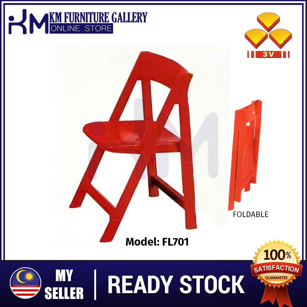 KM Furniture 3V FL701 - Plastic Folding Foldable Chair/ Kerusi Lipat KMFL701W