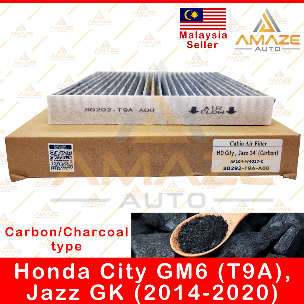 Carbon / Charcoal Air-Cond Cabin Filter for Honda City GM6 (T9A) & Jazz GK (2014-2020) (Equal to 80292-T9A-A00) - Amaze Autoparts