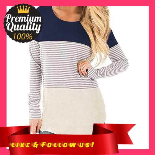 People\'s Choice New Women Autumn Long Striped T-shirt Contrast Color Splicing Curved Hem O Neck Long Sleeve Pullover Tops (Dbm)
