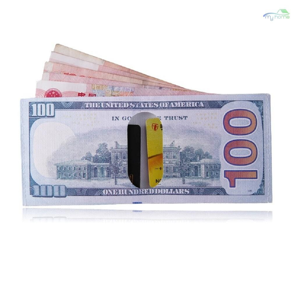 Lighting - Dollars Euro Pounds Canvas Wallet Bill Design Men's Billfold Wallets Fashion Card Holder - 2 / 1