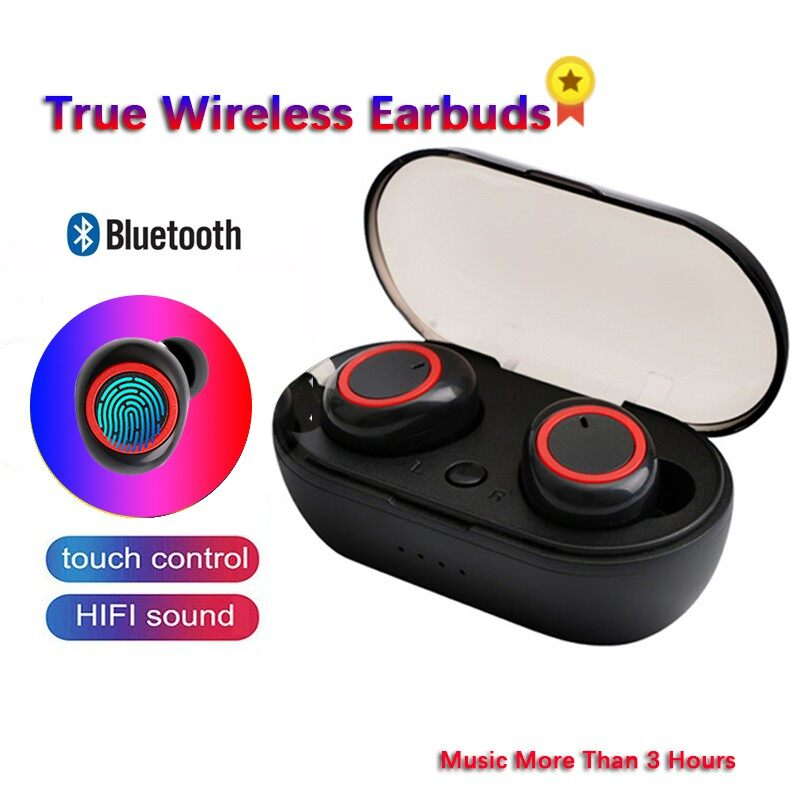 TWS 5.0 3D Stereo BLUETOOTH Earphones WIRELESS Sport IPX5 Waterproof Earbuds for - BLACK&RED / BLACK&SILVER / BLACK&BLUE / WHITE&RED / WHITE&SILVER / WHITE&BLUE