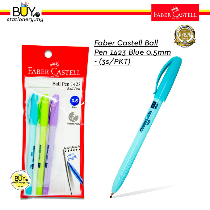 Faber Castell Ball Pen 1423 Blue 0.5m - (3s/PKT)