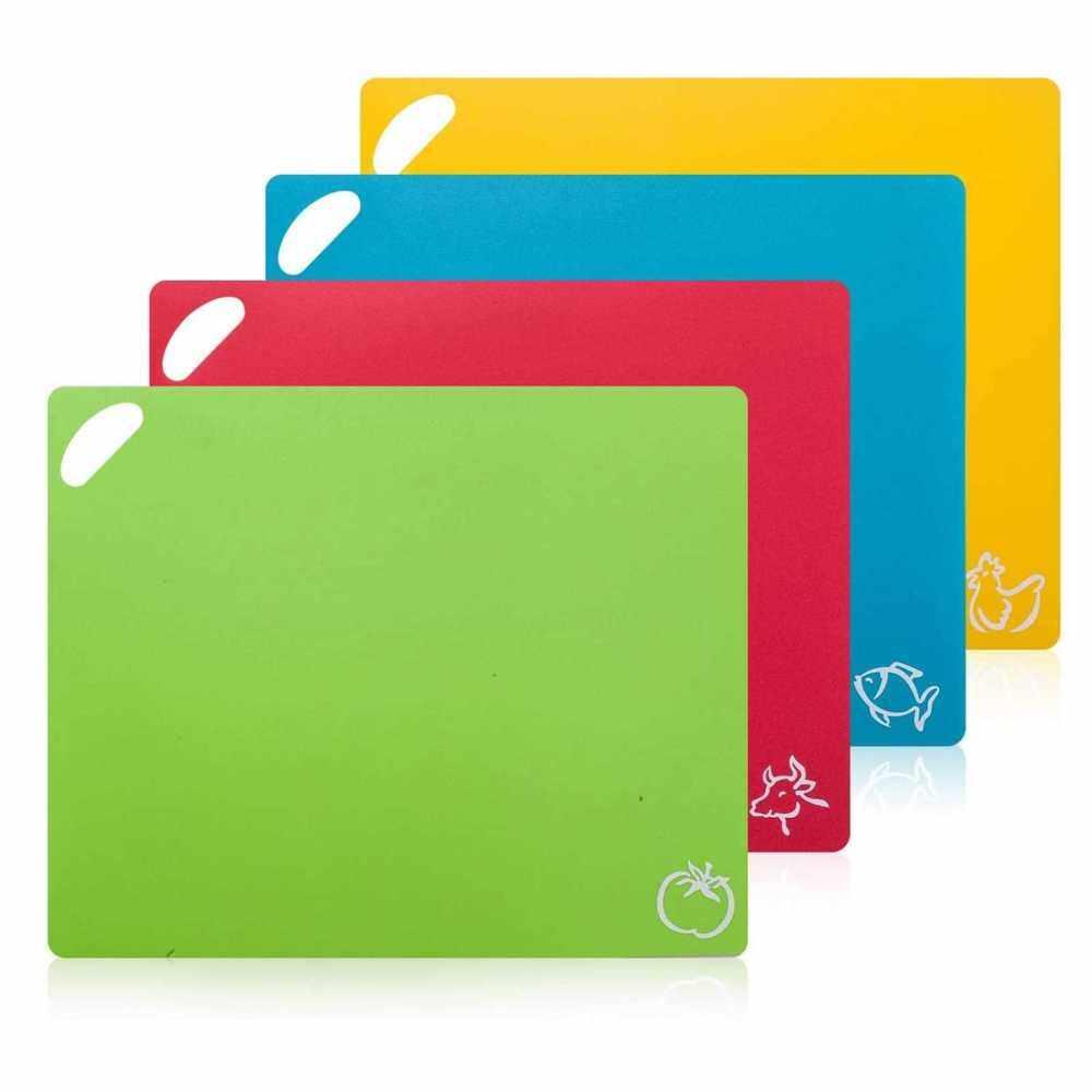4Pcs Flexible Cutting Board Color Coded Set Food-grade Plastic Kitchen Cutting Mat (Standard)