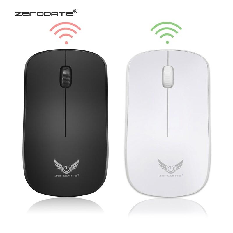 Computer Mouse - USB Optical Mouse 2.4G Mouse Ergonomics 3 Keys 1600DPI PORTABLE Gaming Computer Mouse - WHITE / BLACK
