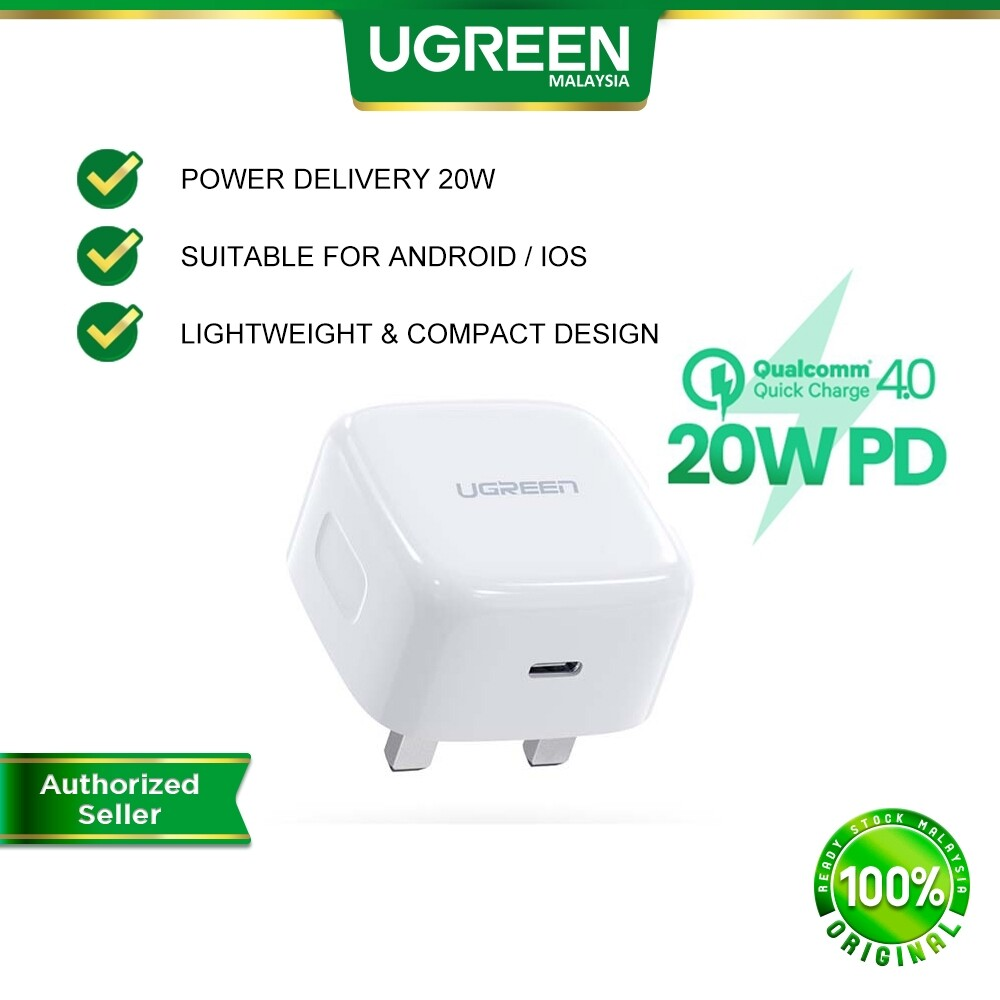 UGREEN 20W PD USB C Charger Wall Plug Power Delivery Quick Charge 4.0 3.0 Type C Charger iPhone 12 12 Pro XR 11 SE IOS iPadOS Android iPhone iPad Pro iPad Air Samsung Huawei Oppo Vivo Xiaomi Pixel Wireless Charge Mobile Devices