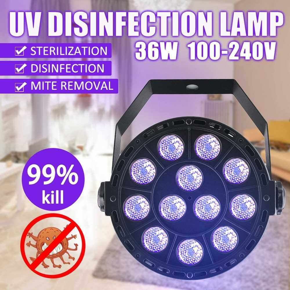 Best Selling 36W LED UV Light Sterilization Lamp Ultraviolet Sterilizer Germicidal Disinfect Lights Mite Purifying Sterilizer UK Plug (Black)