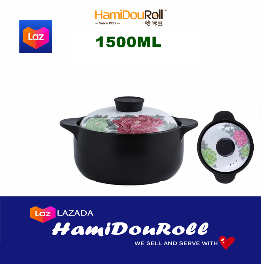 HamiDouRoll ????????(?? WIDE) 4000ML 100% Ceramic Stock Pot (????????) HMD3233-4PINKLOTUS