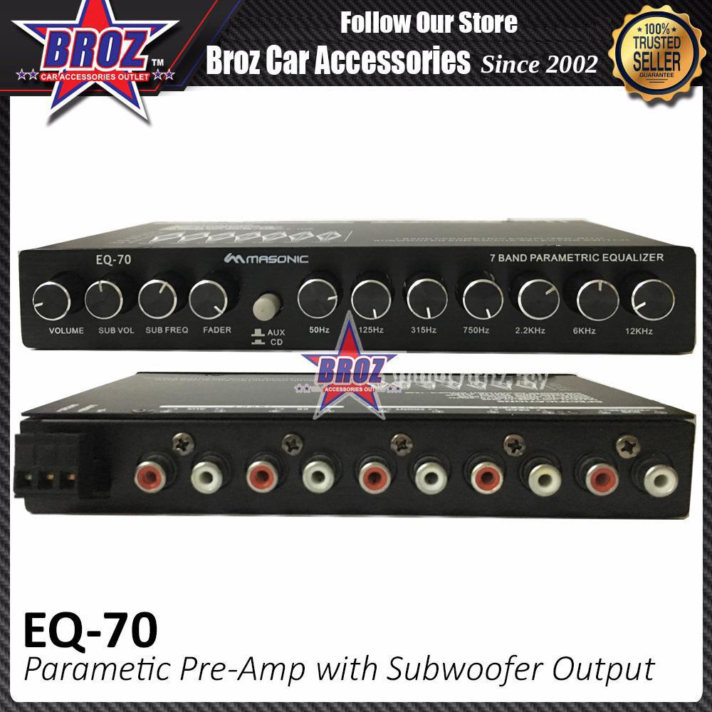 Broz Masonics EQ-70 Parametric Pre-Amp with Subwoofer Output Karaoke 4 Band Car Audio